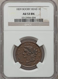 Large Cents: , 1839 1C Booby Head AU53 NGC. NGC Census: (9/129). PCGS Population(3/100). Mintage: 3,128,661. Numismedia Wsl. Price for pr...