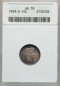 Barber Dimes: , 1909-O 10C AU55 ANACS. NGC Census: (4/85). PCGS Population(10/101). Mintage: 2,287,000. Numismedia Wsl. Price for problem ...