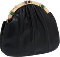 Luxury Accessories:Bags, Judith Leiber Black Lizard Evening Bag with Cabochon and Gold Frame. ...