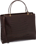 Luxury Accessories:Bags, Judith Leiber Shiny Chocolate Crocodile Large Tote Bag. ...