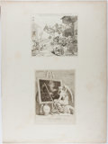 Books:Prints & Leaves, William Hogarth. Group of Two Engraved Prints. Ca. 1750s. Mountedtogether on paper. Upper print approx. 7.5 x 8.25 inches a...