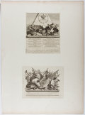 Books:Prints & Leaves, William Hogarth. Group of Two Engraved Prints. Ca. 1754. Mountedtogether on paper. Upper print approx. 9 x 7.5 inches and l...