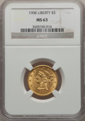 Liberty Half Eagles: , 1908 $5 MS63 NGC. NGC Census: (1286/1245). PCGS Population(1300/1085). Mintage: 421,874. Numismedia Wsl. Price for problem...