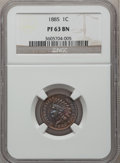 Proof Indian Cents: , 1885 1C PR63 Brown NGC. NGC Census: (36/416). PCGS Population(19/162). Mintage: 3,790. Numismedia Wsl. Price for problem f...