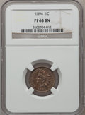 Proof Indian Cents: , 1894 1C PR63 Brown NGC. NGC Census: (28/84). PCGS Population(10/27). Mintage: 2,632. Numismedia Wsl. Price for problem fre...