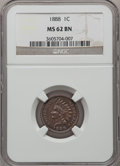 Indian Cents: , 1888 1C MS62 Brown NGC. NGC Census: (92/378). PCGS Population(13/99). Mintage: 37,494,416. Numismedia Wsl. Price for probl...