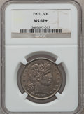 Barber Half Dollars: , 1901 50C MS62+ NGC. NGC Census: (32/84). PCGS Population (38/97).Mintage: 4,268,813. Numismedia Wsl. Price for problem fre...
