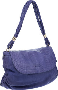 Tod's Periwinkle Python Softy Messenger Media Bag