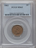 Indian Cents: , 1862 1C MS63 PCGS. PCGS Population (494/880). NGC Census:(562/1436). Mintage: 28,075,000. Numismedia Wsl. Price forproble...