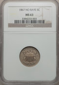Shield Nickels: , 1867 5C No Rays MS63 NGC. NGC Census: (135/386). PCGS Population(171/293). Mintage: 28,800,000. Numismedia Wsl. Price for ...