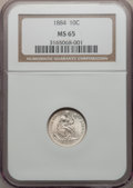 Seated Dimes: , 1884 10C MS65 NGC. NGC Census: (66/64). PCGS Population (53/55).Mintage: 3,365,505. Numismedia Wsl. Price for problem free...