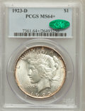 Peace Dollars: , 1923-D $1 MS64+ PCGS. CAC. PCGS Population (1332/477). NGC Census:(992/258). Mintage: 6,811,000. Numismedia Wsl. Price for...