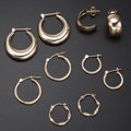 Estate Jewelry:Earrings, Five Pairs Gold Earrings. ... (Total: 5 Items)