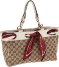 Luxury Accessories:Bags, Gucci Classic Monogram Positano Tote Bag with White Leather Trim....