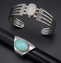 Estate Jewelry:Other , Sterling Cuff Bracelet & Ring. ... (Total: 2 Items)