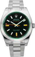 Timepieces:Wristwatch, Rolex Unused Ref. 116400V Steel Oyster Perpetual Green Milgauss....