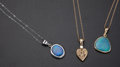 Estate Jewelry:Pendants and Lockets, Three Opal & Gold Pendants. ... (Total: 3 Items)