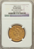 Liberty Eagles: , 1865-S $10 -- Reverse Scratched -- NGC Details. VG. NGC Census:(1/30). PCGS Population (0/18). Mintage: 16,700. Numismedia...