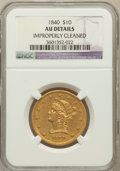 Liberty Eagles: , 1840 $10 -- Improperly Cleaned -- NGC Details. AU. NGC Census:(18/71). PCGS Population (16/17). Mintage: 47,338. Numismedi...