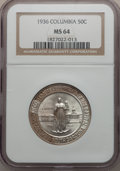 Commemorative Silver: , 1936 50C Columbia MS64 NGC. NGC Census: (263/1173). PCGS Population(606/1317). Mintage: 9,007. Numismedia Wsl. Price for p...