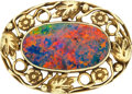 Estate Jewelry:Brooches - Pins, Arts & Crafts Black Opal, Gold Brooch. ...