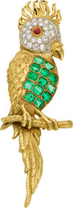 Estate Jewelry:Brooches - Pins, Emerald, Diamond, Ruby, Gold Brooch. ...