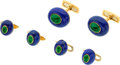 Estate Jewelry:Cufflinks, Emerald, Lapis, Gold Dress Set, Andreoli. ...
