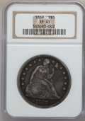 Seated Dollars: , 1869 $1 XF45 NGC. NGC Census: (9/75). PCGS Population (29/108).Mintage: 423,700. Numismedia Wsl. Price for problem free NG...