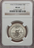 Commemorative Silver: , 1936-D 50C Columbia MS66 NGC. NGC Census: (639/229). PCGSPopulation (553/177). Mintage: 8,009. Numismedia Wsl. Price forp...