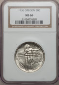 Commemorative Silver: , 1936 50C Oregon MS66 NGC. NGC Census: (512/139). PCGS Population(533/158). Mintage: 10,006. Numismedia Wsl. Price for prob...