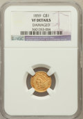 Gold Dollars, 1859 G$1 -- Damaged -- NGC Details. VF. NGC Census: (0/345). PCGSPopulation (0/296). Mintage: 168,244. Numismedia Wsl....