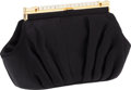 Luxury Accessories:Bags, Judith Leiber Black Satin and Crystal Closure Evening Bag. ...