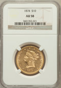 Liberty Eagles: , 1874 $10 AU58 NGC. NGC Census: (135/75). PCGS Population (35/41).Mintage: 53,160. Numismedia Wsl. Price for problem free N...