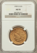 Indian Eagles: , 1909-S $10 AU55 NGC. NGC Census: (109/483). PCGS Population(96/468). Mintage: 292,350. Numismedia Wsl. Price for problem f...