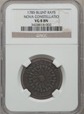 Colonials: , 1785 COPPER Nova Constellatio Copper, Blunt Rays VG8 NGC. NGC Census: (1/13). PCGS Population (0/37). (#810)...