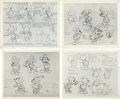 animation art:Model Sheet, Mickey and Minnie Mouse Model Sheet Group (Disney, c.1930s).... (Total: 4 Items)