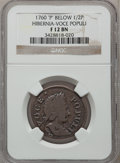 Colonials: , 1760 1/2P Hibernia-Voce Populi Halfpenny, P Below Bust Fine 12 NGC.NGC Census: (1/7). PCGS Population (0/35). (#268)...