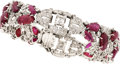 Estate Jewelry:Bracelets, Art Deco Diamond, Ruby, Platinum Bracelet. ...