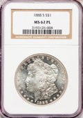 Morgan Dollars: , 1888-S $1 MS62 Prooflike NGC. NGC Census: (27/146). PCGS Population(36/136). Numismedia Wsl. Price for problem free NGC/P...