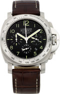 "Timepieces:Wristwatch, Panerai Ref. OP 6637 Steel ""Daylight"" Luminor Chronograph, No. 1313/1500, circa 2005. ..."