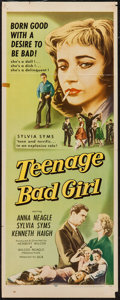 "Movie Posters:Bad Girl, Teenage Bad Girl (DCA, 1957). Insert (14"" X 36""). Bad Girl.. ..."