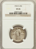 Standing Liberty Quarters: , 1923-S 25C VF25 NGC. NGC Census: (23/381). PCGS Population(43/791). Mintage: 1,360,000. Numismedia Wsl. Price for problem ...