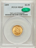 Liberty Quarter Eagles: , 1899 $2 1/2 MS65 PCGS. CAC. PCGS Population (67/24). NGC Census:(72/44). Mintage: 27,200. Numismedia Wsl. Price for proble...