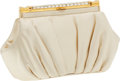 Luxury Accessories:Bags, Judith Leiber Cream Satin and Crystal Closure Clutch. ...