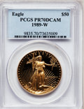 Modern Bullion Coins: , 1989-W G$50 One-Ounce Gold Eagle PR70 Deep Cameo PCGS. PCGSPopulation (283). NGC Census: (748). Mintage: 54,570. Numismedi...