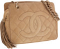 Luxury Accessories:Bags, Chanel Camel Suede Quilted Shoulder Bag with Tassel. ...