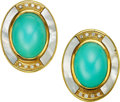 Estate Jewelry:Earrings, Turquoise, Diamond, Mother-of-Pearl, Gold Earrings. ...