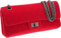 Luxury Accessories:Bags, Chanel Red Quilted Linen Double Flap Mademoiselle Bag with GunmetalHardware. ...