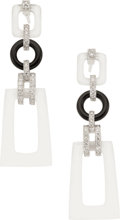 Estate Jewelry:Earrings, Frosted Rock Crystal Quartz, Black Onyx, Diamond, White GoldEarrings, Eli Frei. ...