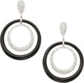 Estate Jewelry:Earrings, Black Onyx, Diamond, White Gold Earrings, Eli Frei. ...